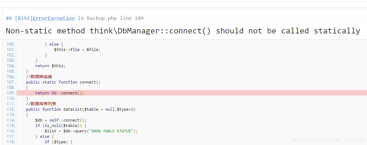 Non-static method think\DbManager::connect() should not be called statically-简单's blog